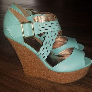 Charlotte Russe Shoes - Charlotte Russe size 8 bluish green wedges